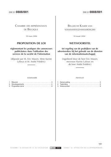 Wetsvoorstel - Observatorium van de Rechten op het Internet