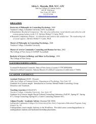 Silvia L. Mazzula, PhD, NCC, LPC - John Jay College Of Criminal ...
