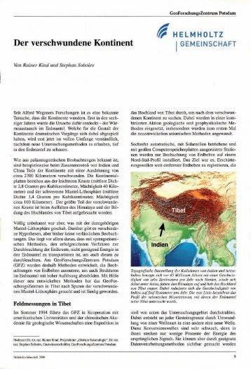 Der verschwundene Kontinent - GeoForschungsZentrum Potsdam