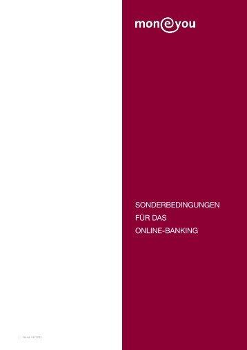 SONDERBEDINGUNGEN FÜR DAS ONlINE-BANkING - MoneYou