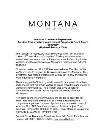 MONTANA COMMERCE DEPARTMENT - Montana Office of Tourism