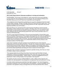 'Robert E. Leckie' and 'Community' Awards - Yukon Zinc Corporation