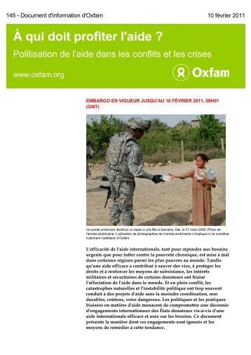 A qui doit profiter l'aide - Oxfam France