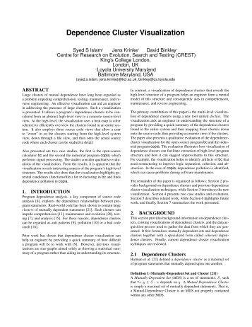 Dependence Cluster Visualization - Loyola University Maryland
