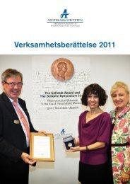 Verksamhetsberättelse 2011 - Apotekarsocieteten