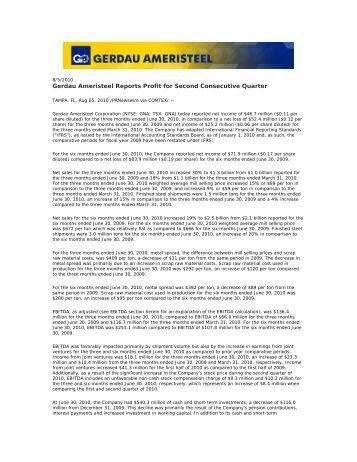 Gerdau Ameristeel Reports Profit for Second Consecutive Quarter