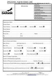 Film Permit Application formpage1 - Darwin City Council