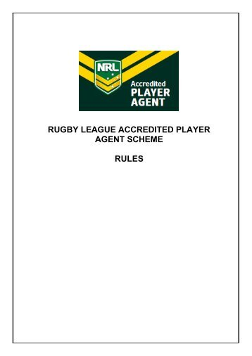 rugby league accredited player agent scheme rules - NRL.com