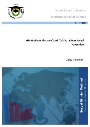 Günümüzde Almanya'daki Türk Varlığının Sosyal ... - E-Universite