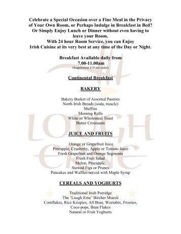 Download the In Room Private Dining Menu - Lough Erne Resort