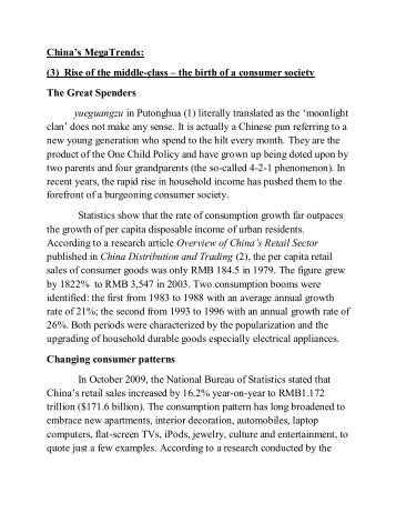 China's MegaTrends: (3) Rise of the middle-class - Andrew Leung ...