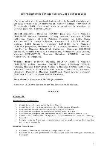 COMPTE RENDU DU CONSEIL MUNICIPAL DU 8 ... - Cabourg