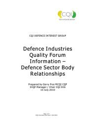 Defence Industry Body Relationships - Chartered Quality Institute