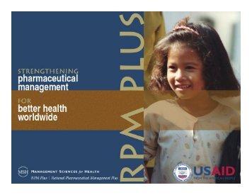 Pharmaceutical Management and Quantification for Anti-malaria
