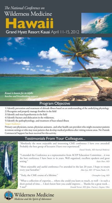 Grand Hyatt Resort Kauai April 11-15, 2012 - Wilderness Medicine