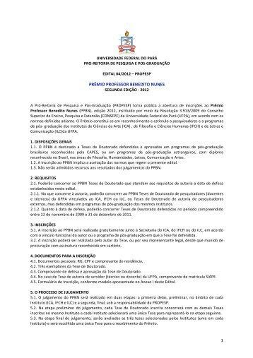 1 prêmio professor benedito nunes - Propesp - Universidade ...