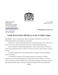 Gordie Brown tickets officially go on sale at Golden Nugget