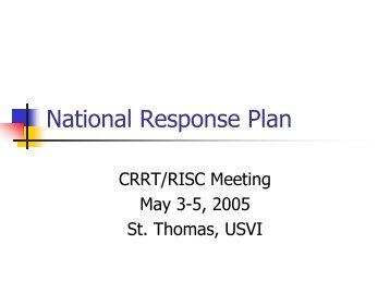 National Response Plan - U.S. National Response Team (NRT)