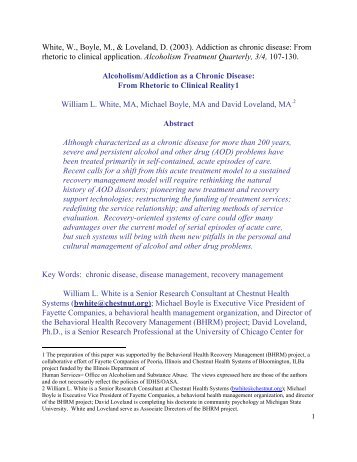 Alcoholism/Addiction as a Chronic Disease - William L. White