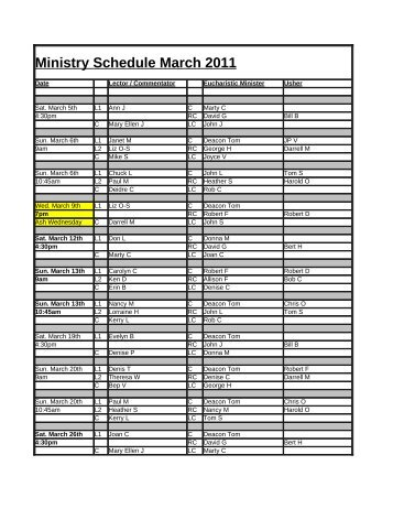 Ministry Schedule March 2011