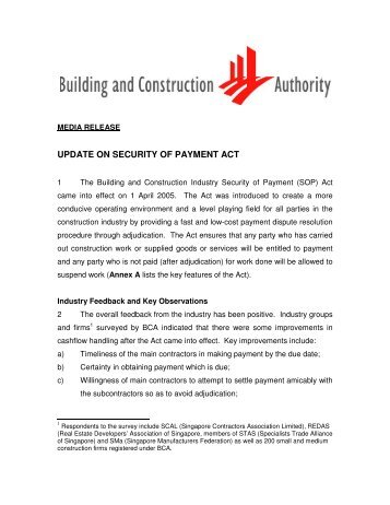 update on security of payment act - Building & Construction Authority