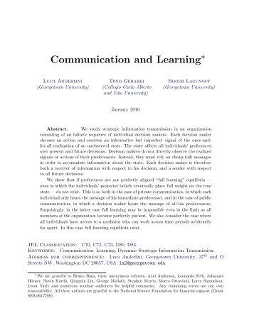 Communication and Learning - CiteSeerX