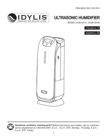 Idylis model 416709 manual instruction related keywords 25 gallon ultrasonic humidifier air purifiers and hepa fandeluxe Image collections