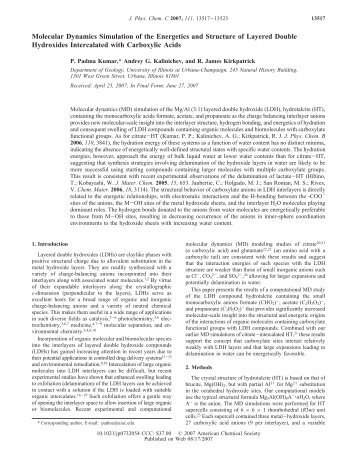 Molecular Dynamics Simulation of the Energetics and Structure of ...