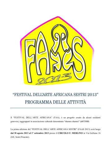 programma del Festival dell'arte africana - Comune di Genova