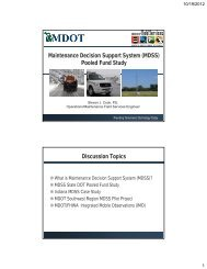 Maintenance Decision Support System (MDSS) Pooled Fund Study ...