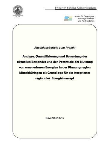 Abschlussbericht zum Projekt Analyse, Quantifizierung und ...