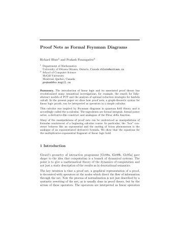 Proof Nets as Formal Feynman Diagrams - Aix1 Uottawa