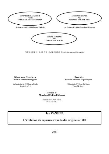 Inhoudstafel en bestelbon (pdf) - Royal Academy for Overseas ...