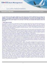 27/05/2013 Lettre hebdomadaire d'économie et marchés Le vent ...