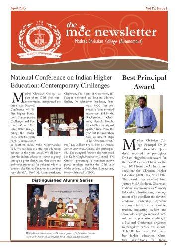 April Vol.IV Issue:1 - Madras Christian College