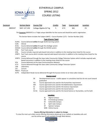 estherville campus spring 2012 course listing - Iowa Lakes ...