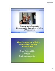Creating Brain Compatible Classrooms by Making Powerful Use of ...