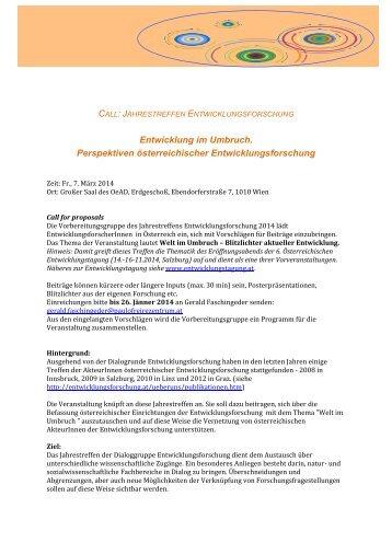 Call for proposals - Institut für Internationale Entwicklung