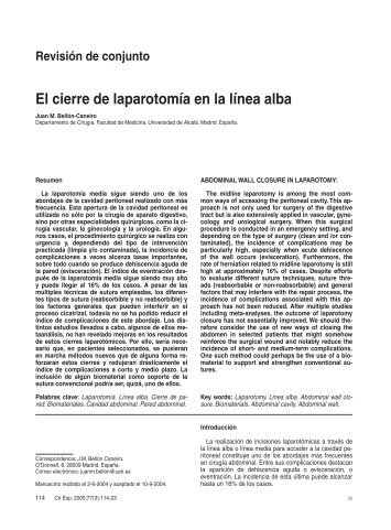 El cierre de laparotomía en la línea alba. (Archivo PDF 384 KB, 1-2
