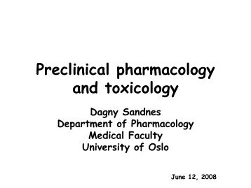 Preclinical pharmacology and toxicology - Biotekforum