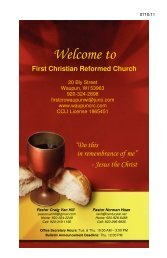 Welcome to - First Christian Reformed Church