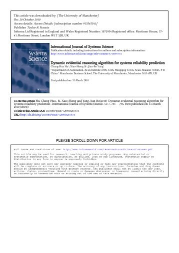 Dynamic evidential reasoning algorithm for systems reliability ...