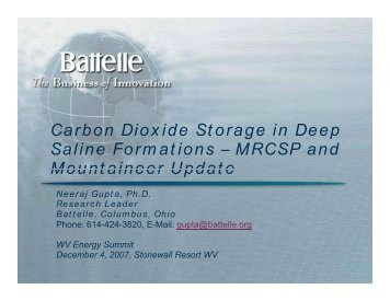 Carbon Dioxide Storage in Deep Saline Formations - West Virginia ...