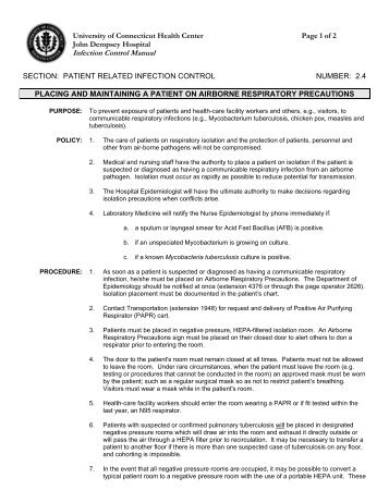 Infection Control Manual - Department of Nursing - University of ...