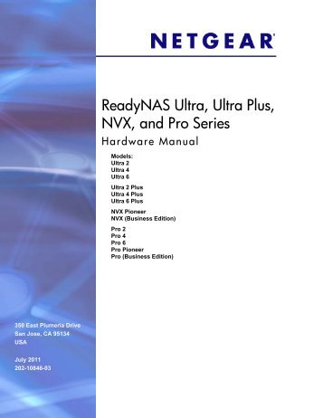 ReadyNAS Ultra, Ultra Plus, and Pro Series Hardware Manual