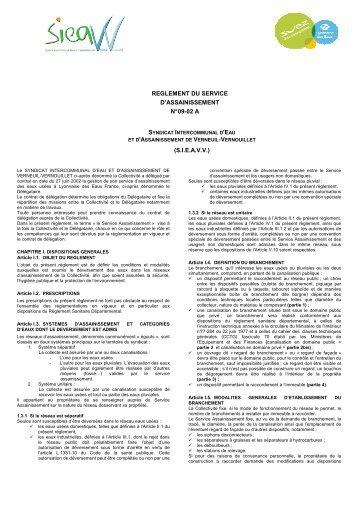 Télécharger le règlement d'assainissement collectif - Mairie de ...