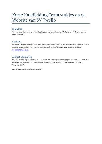 Korte Handleiding Team stukjes op de Website van SV Twello