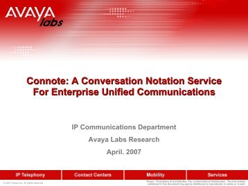 Avaya Labs Research Briefs