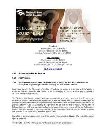 Program 2013 Education Forum - Manitoba Chambers of Commerce