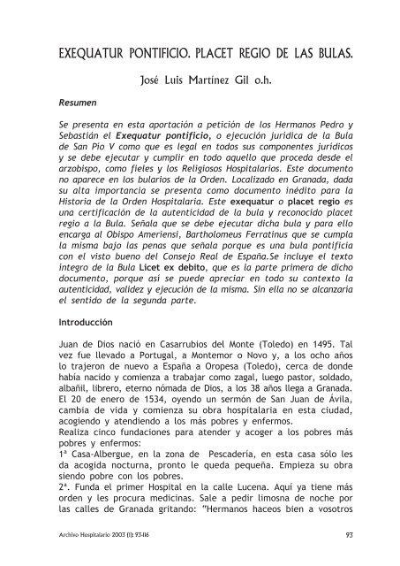 Exequator Pontificio. Placet Regio de las Bulas - Inicio - San Juan ...